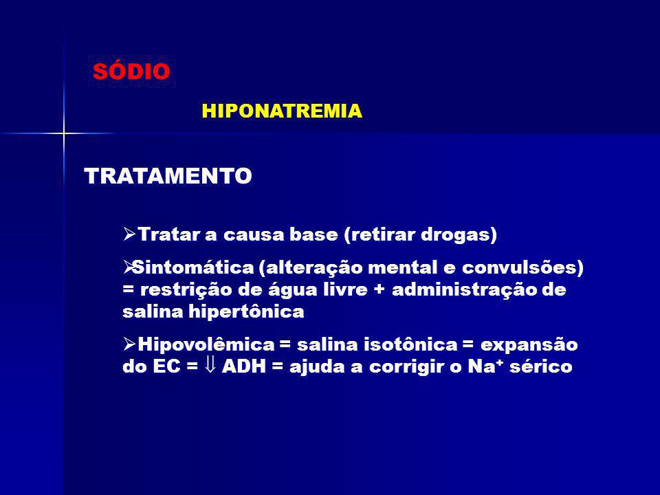 SÓDIO TRATAMENTO HIPONATREMIA Tratar a causa base (retirar drogas)