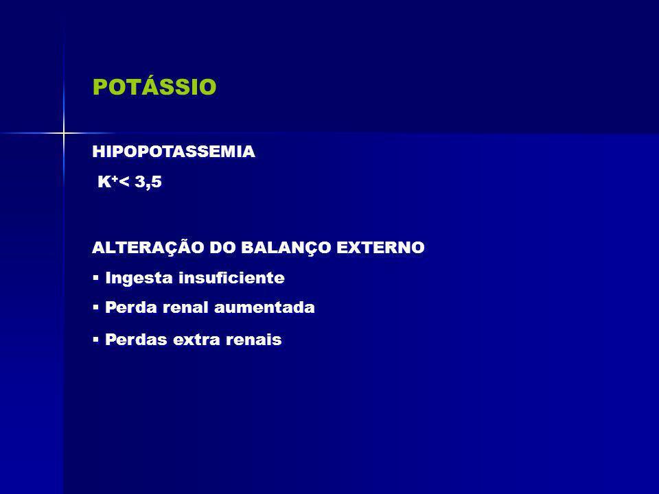 POTÁSSIO HIPOPOTASSEMIA K+< 3,5 ALTERAÇÃO DO BALANÇO EXTERNO