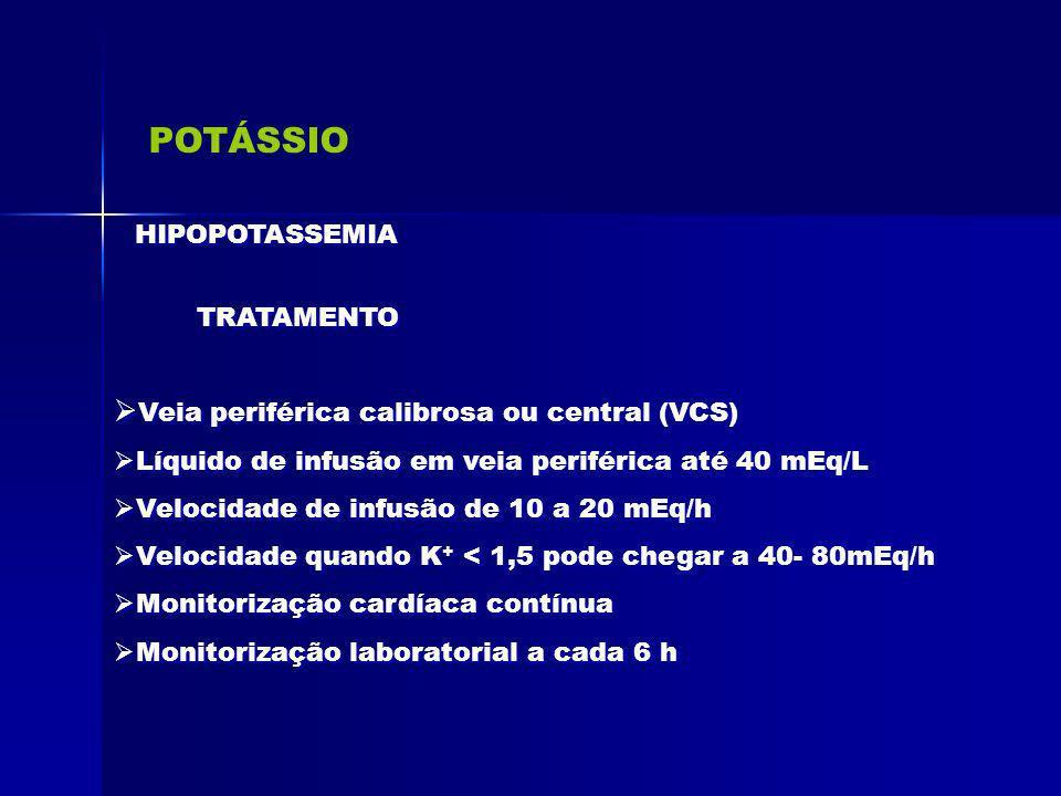 POTÁSSIO Veia periférica calibrosa ou central (VCS) HIPOPOTASSEMIA