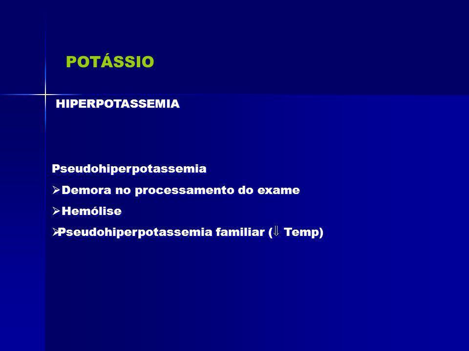 POTÁSSIO HIPERPOTASSEMIA Pseudohiperpotassemia