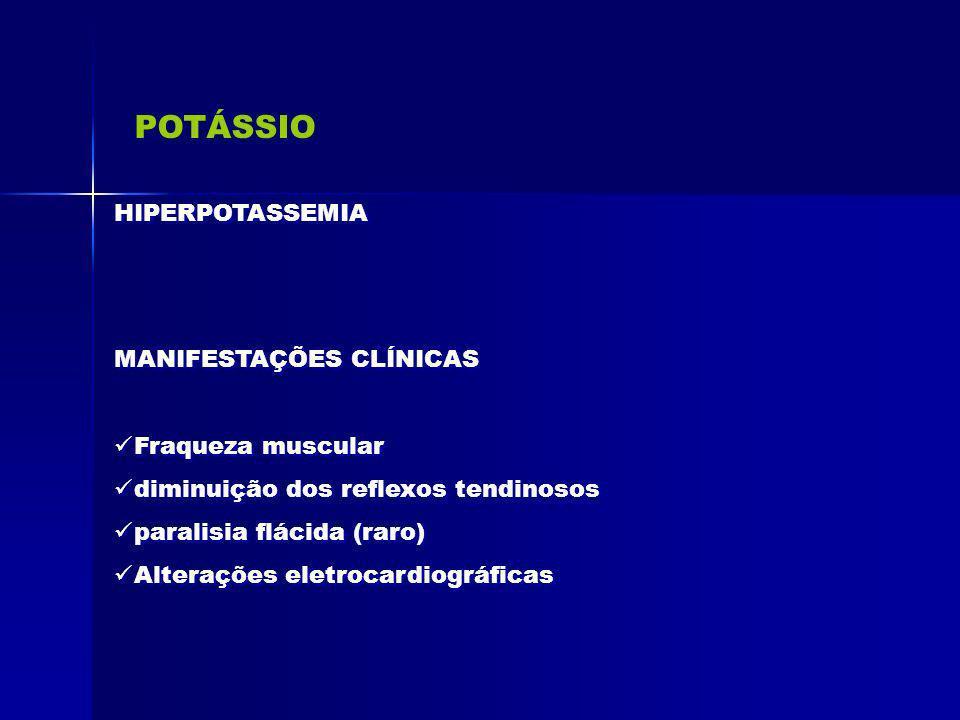 POTÁSSIO HIPERPOTASSEMIA MANIFESTAÇÕES CLÍNICAS Fraqueza muscular