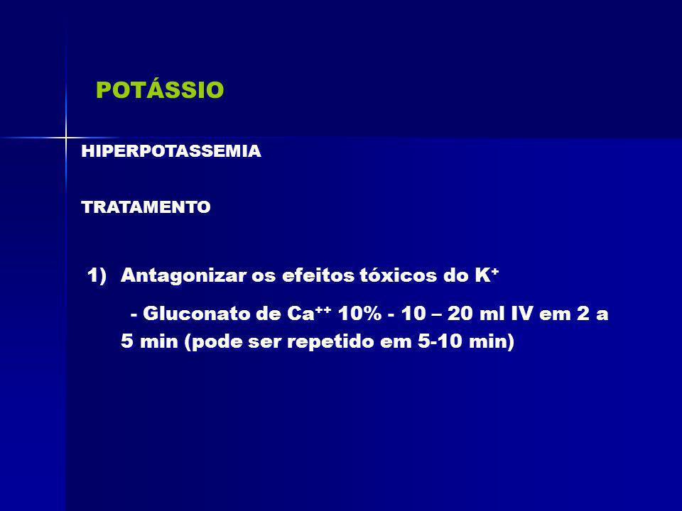 POTÁSSIO Antagonizar os efeitos tóxicos do K+