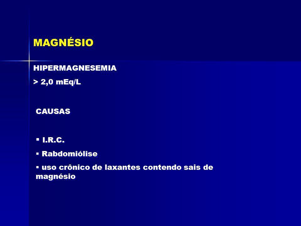MAGNÉSIO I.R.C. HIPERMAGNESEMIA > 2,0 mEq/L CAUSAS Rabdomiólise