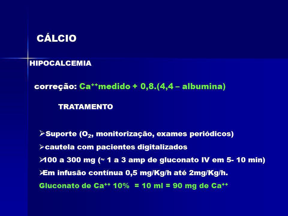 CÁLCIO correção: Ca++medido + 0,8.(4,4 – albumina)