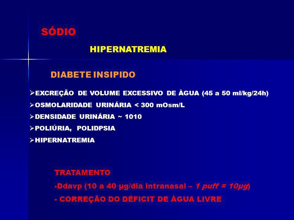 SÓDIO HIPERNATREMIA DIABETE INSIPIDO
