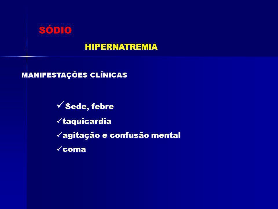 Sede, febre SÓDIO HIPERNATREMIA taquicardia agitação e confusão mental
