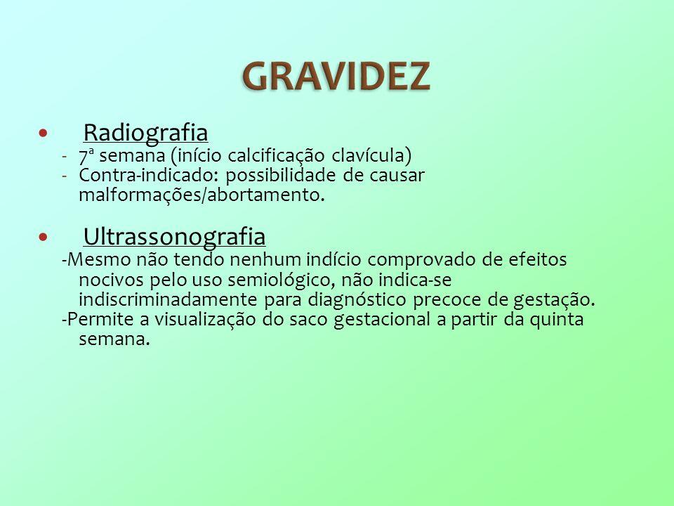 Radiografia Ultrassonografia 7ª semana (início calcificação clavícula)