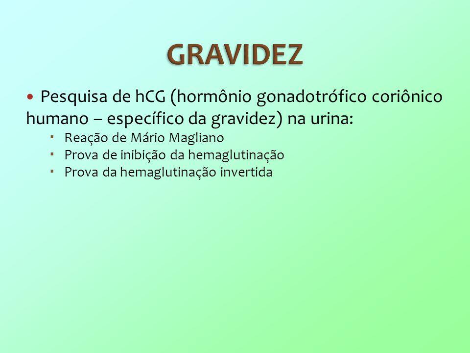 GRAVIDEZ Pesquisa de hCG (hormônio gonadotrófico coriônico humano – específico da gravidez) na urina: