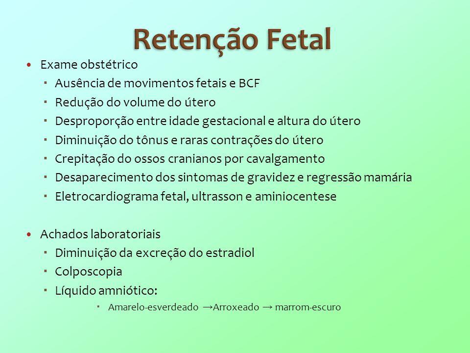Retenção Fetal Exame obstétrico Ausência de movimentos fetais e BCF