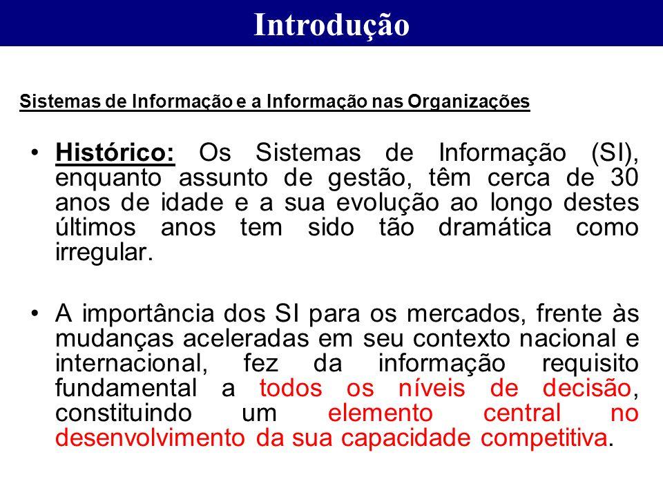 Introdução Sistemas de Informação e a Informação nas Organizações.