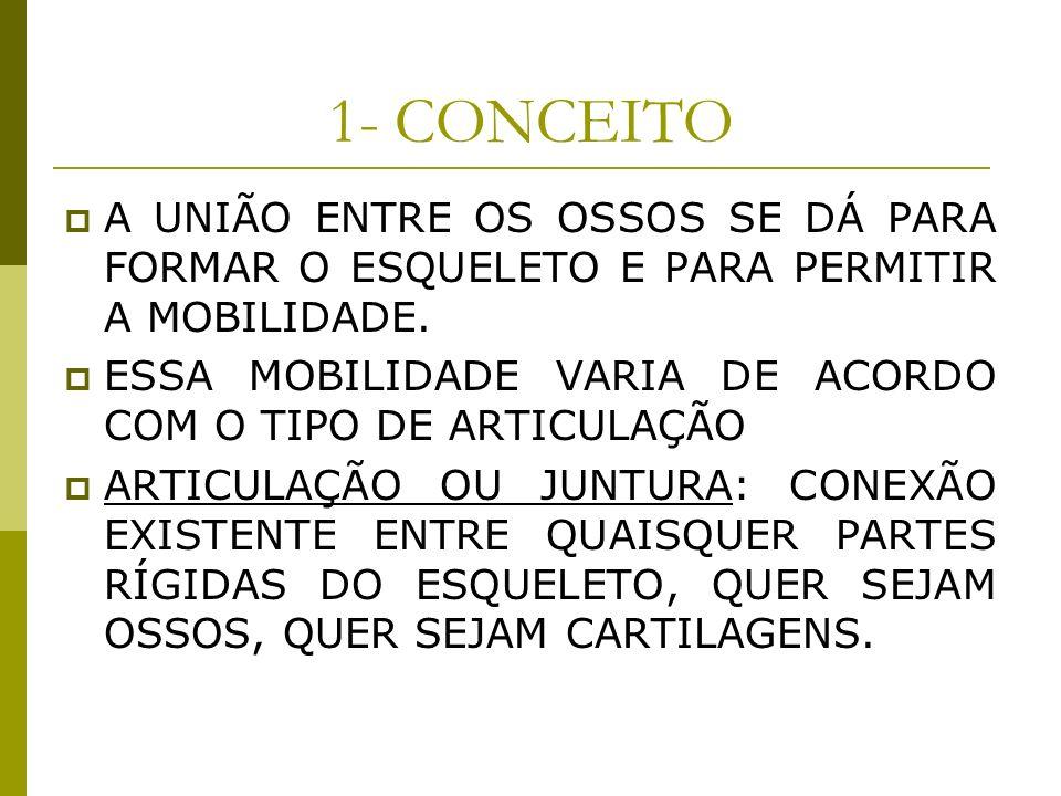 1- CONCEITOA UNIÃO ENTRE OS OSSOS SE DÁ PARA FORMAR O ESQUELETO E PARA PERMITIR A MOBILIDADE.