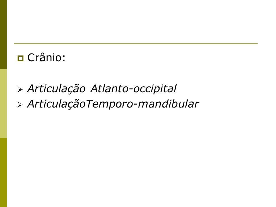Crânio: Articulação Atlanto-occipital ArticulaçãoTemporo-mandibular