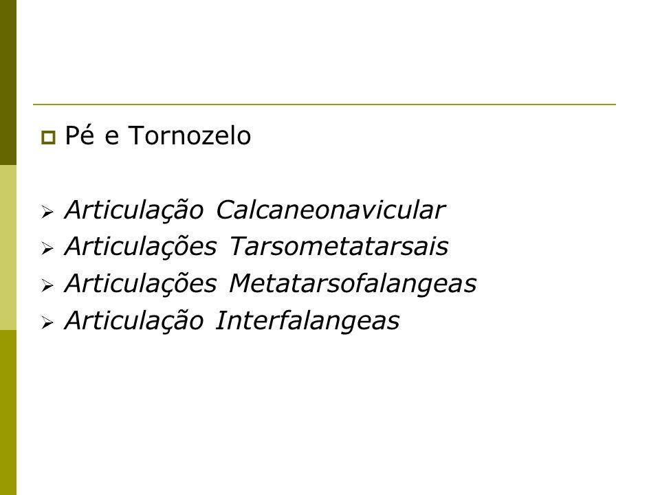 Pé e TornozeloArticulação Calcaneonavicular. Articulações Tarsometatarsais. Articulações Metatarsofalangeas.