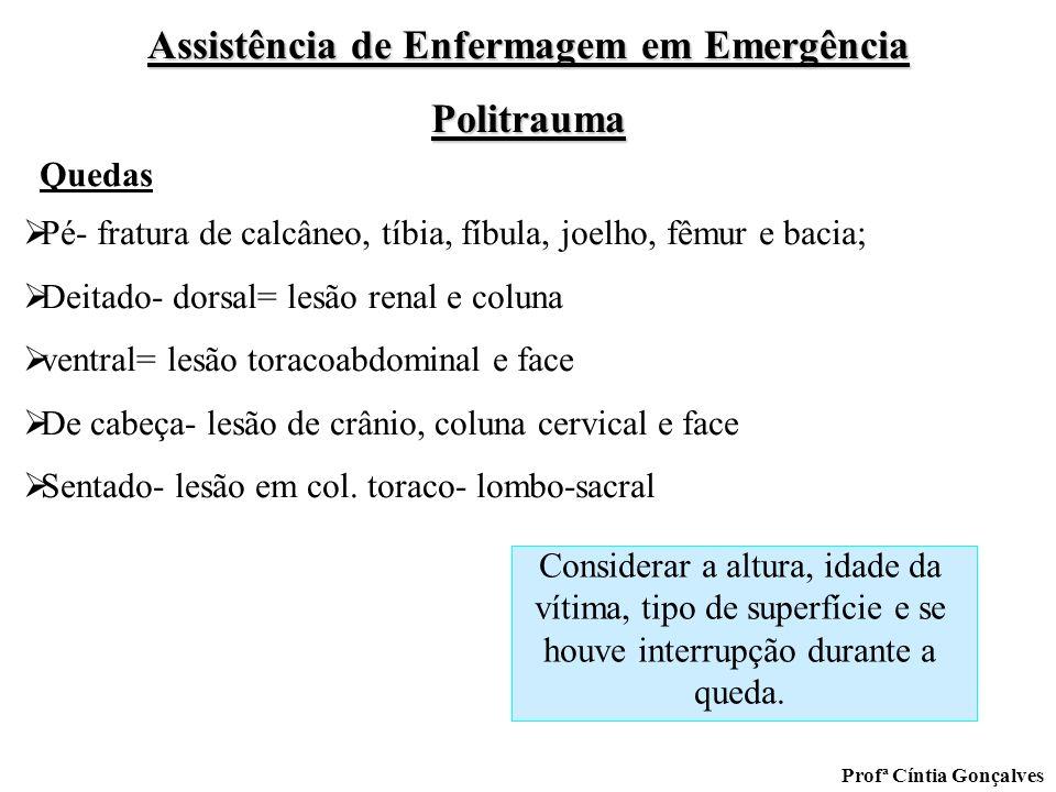 QuedasPé- fratura de calcâneo, tíbia, fíbula, joelho, fêmur e bacia; Deitado- dorsal= lesão renal e coluna.
