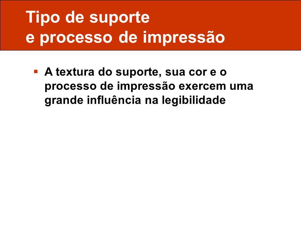 Tipo de suporte e processo de impressão
