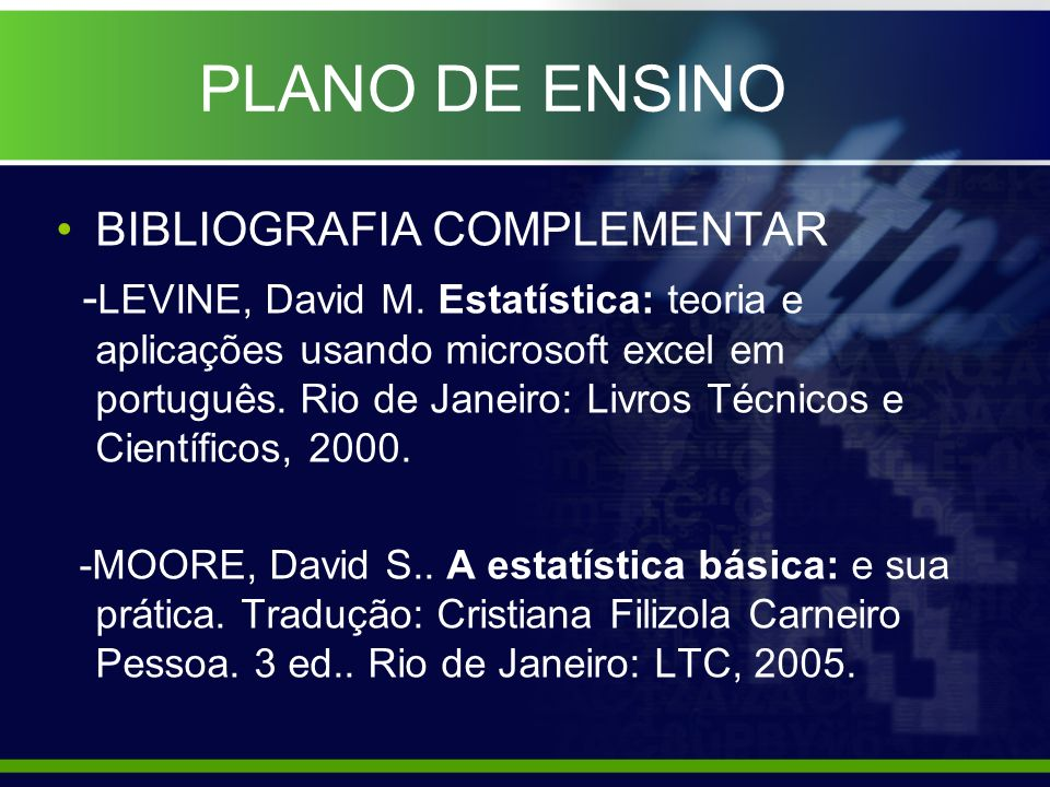 PLANO DE ENSINO BIBLIOGRAFIA COMPLEMENTAR