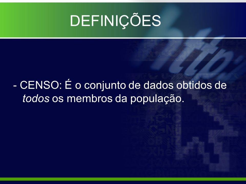 DEFINIÇÕES - CENSO: É o conjunto de dados obtidos de todos os membros da população.