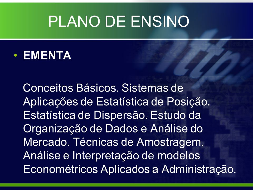 PLANO DE ENSINO EMENTA.