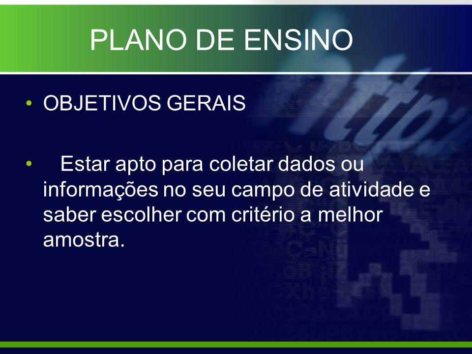 PLANO DE ENSINO OBJETIVOS GERAIS