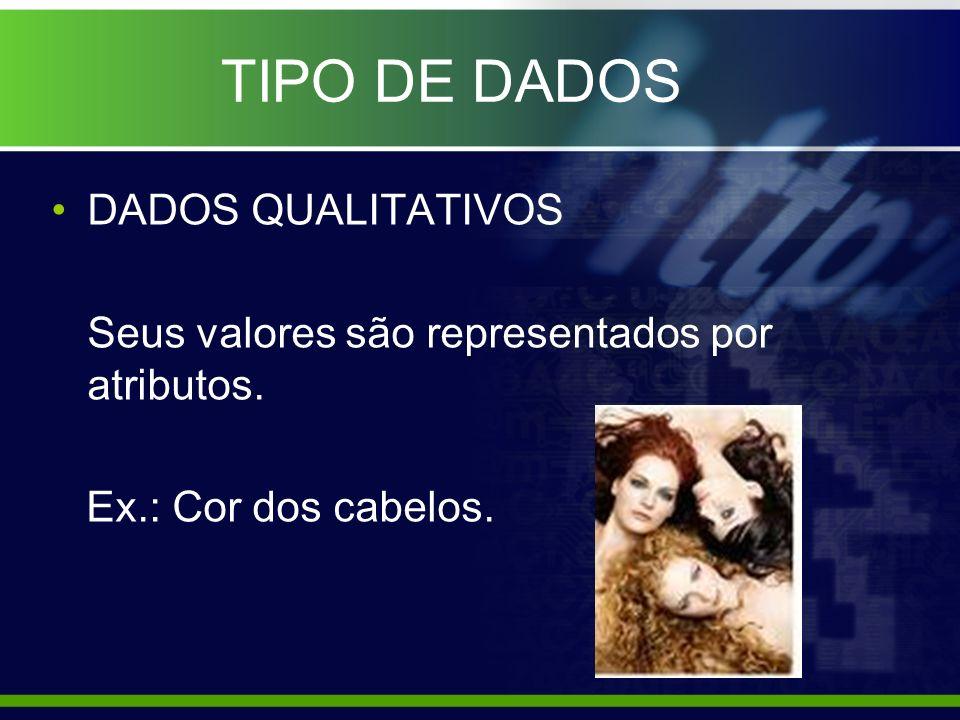 TIPO DE DADOS DADOS QUALITATIVOS