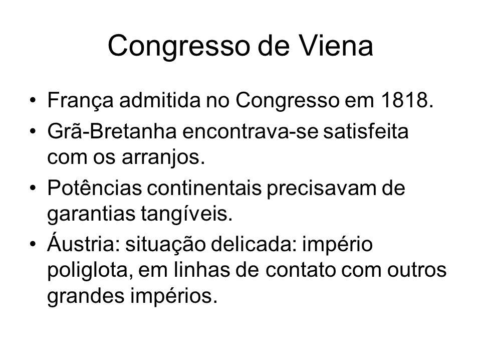 Congresso de Viena França admitida no Congresso em 1818.