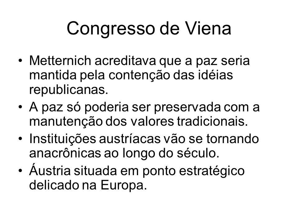 Congresso de VienaMetternich acreditava que a paz seria mantida pela contenção das idéias republicanas.