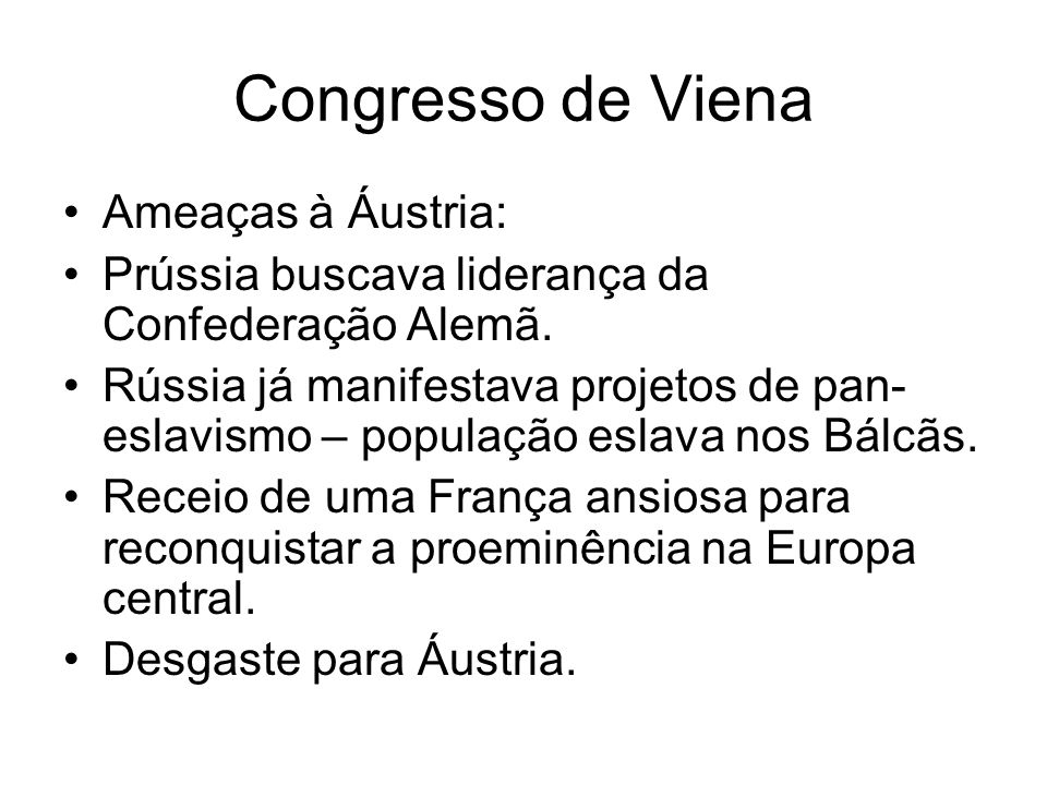 Congresso de Viena Ameaças à Áustria: