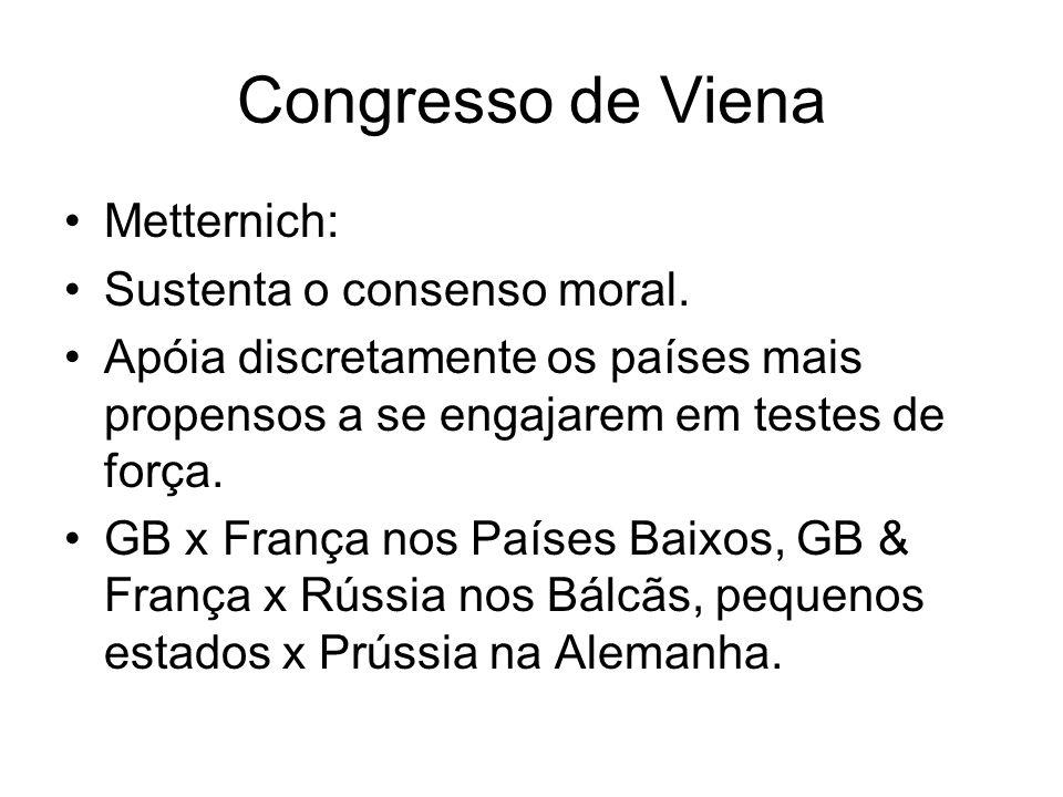 Congresso de Viena Metternich: Sustenta o consenso moral.