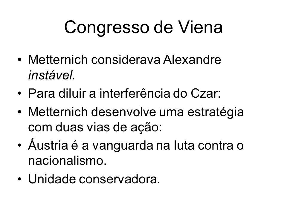 Congresso de Viena Metternich considerava Alexandre instável.