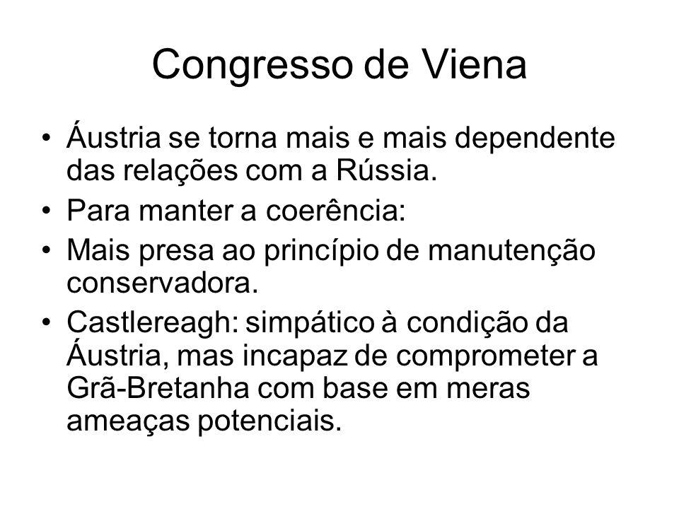 Congresso de Viena Áustria se torna mais e mais dependente das relações com a Rússia. Para manter a coerência: