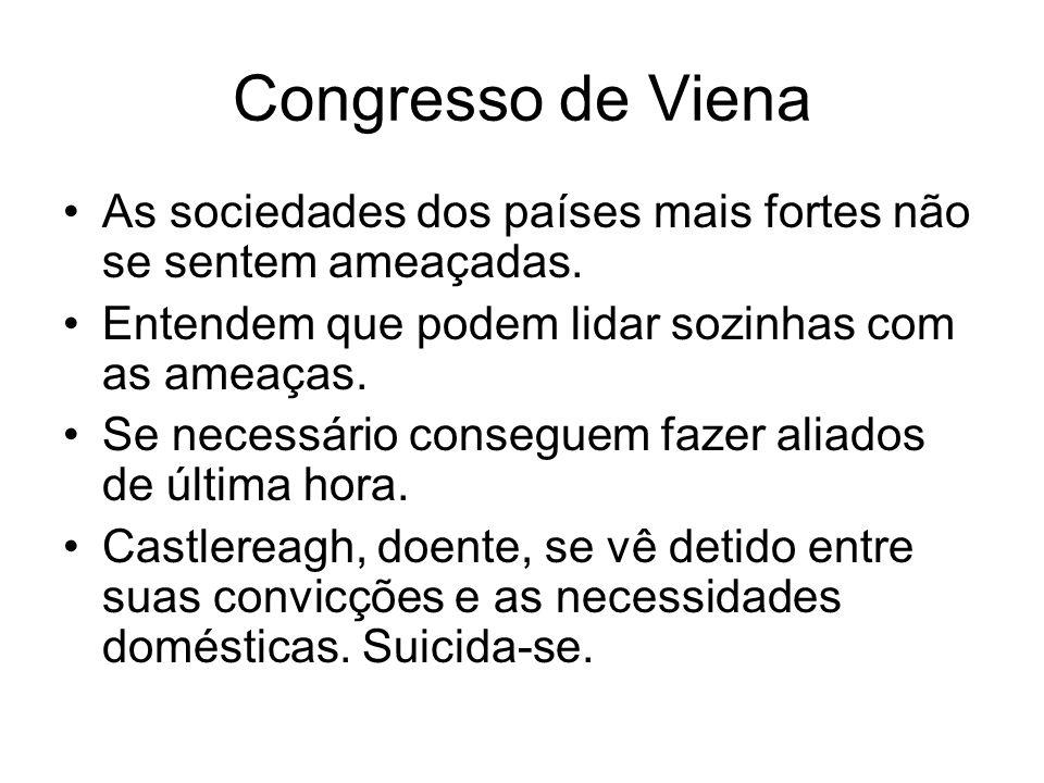 Congresso de Viena As sociedades dos países mais fortes não se sentem ameaçadas. Entendem que podem lidar sozinhas com as ameaças.