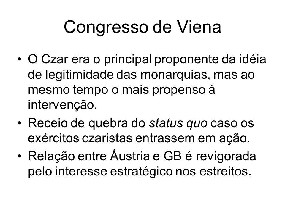 Congresso de Viena O Czar era o principal proponente da idéia de legitimidade das monarquias, mas ao mesmo tempo o mais propenso à intervenção.