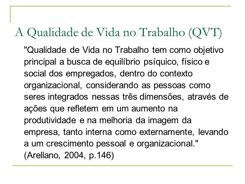 A Qualidade de Vida no Trabalho (QVT)