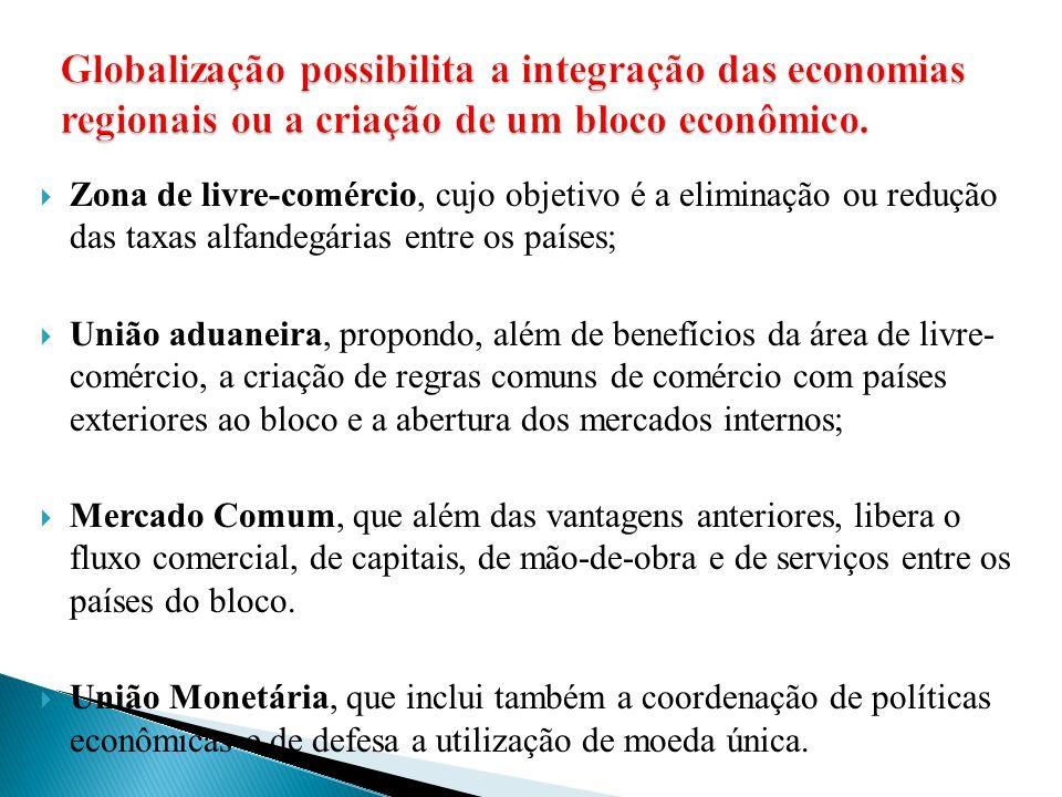 Globalização possibilita a integração das economias regionais ou a criação de um bloco econômico.