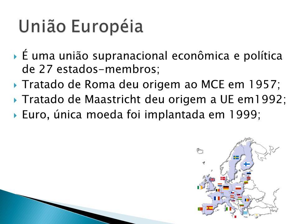 União Européia É uma união supranacional econômica e política de 27 estados-membros; Tratado de Roma deu origem ao MCE em 1957;