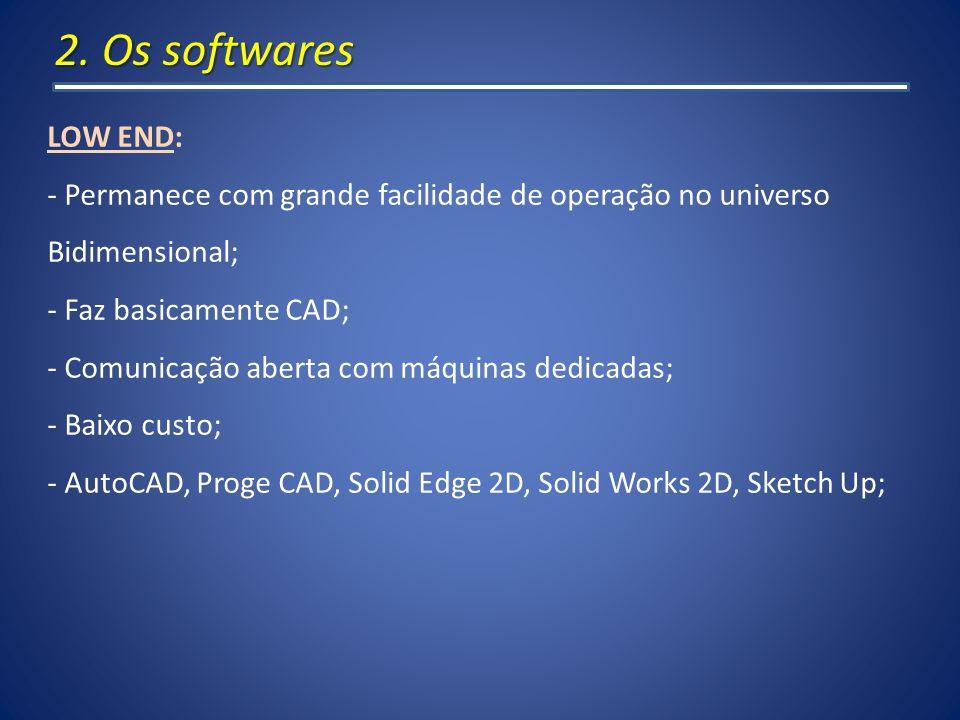 2. Os softwares LOW END: Permanece com grande facilidade de operação no universo. Bidimensional; Faz basicamente CAD;