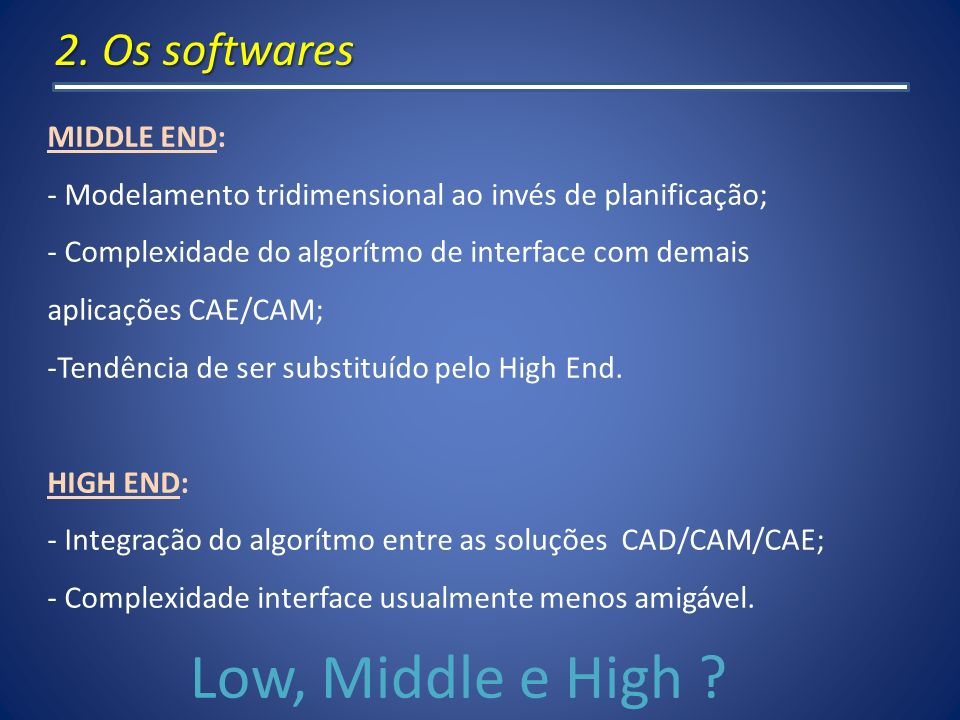 Low, Middle e High 2. Os softwares MIDDLE END: