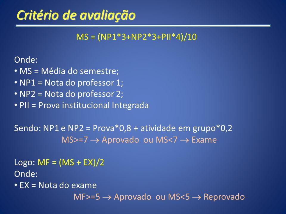 Critério de avaliação MS = (NP1*3+NP2*3+PII*4)/10 Onde:
