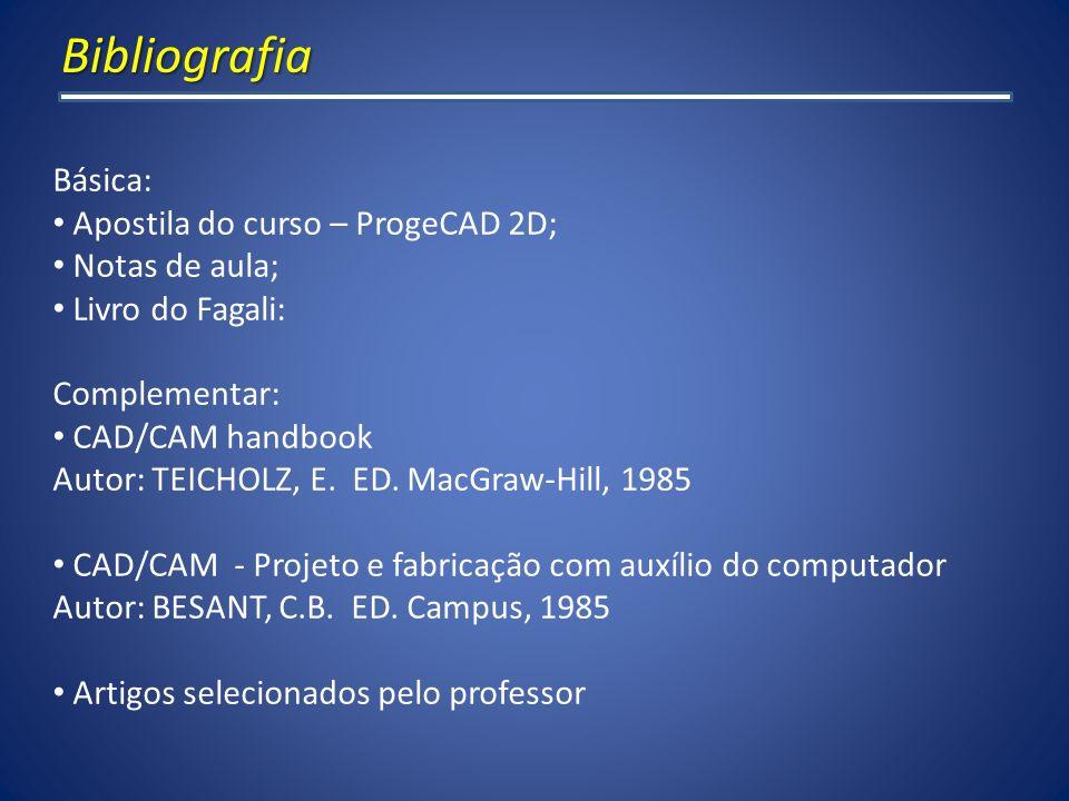Bibliografia Básica: Apostila do curso – ProgeCAD 2D; Notas de aula;