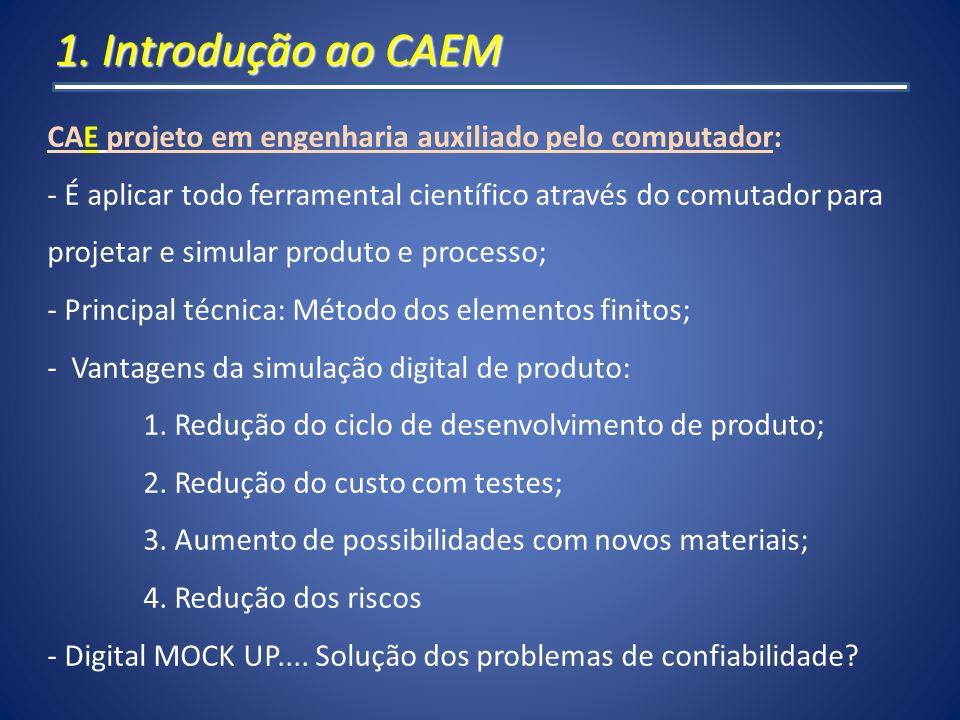 1. Introdução ao CAEM CAE projeto em engenharia auxiliado pelo computador: É aplicar todo ferramental científico através do comutador para.