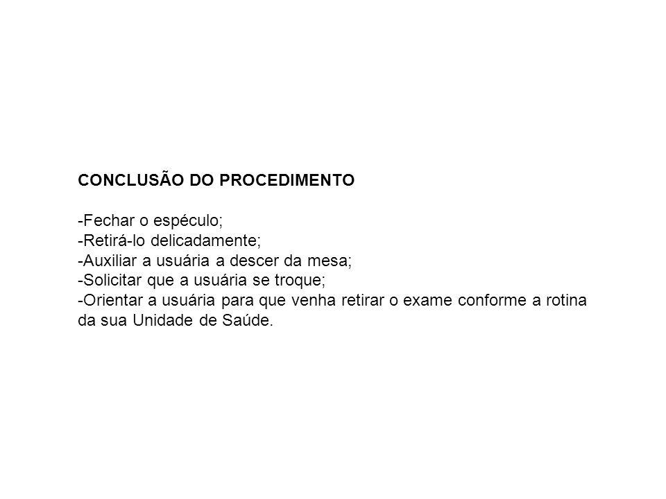 CONCLUSÃO DO PROCEDIMENTO
