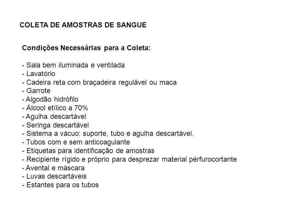 COLETA DE AMOSTRAS DE SANGUE