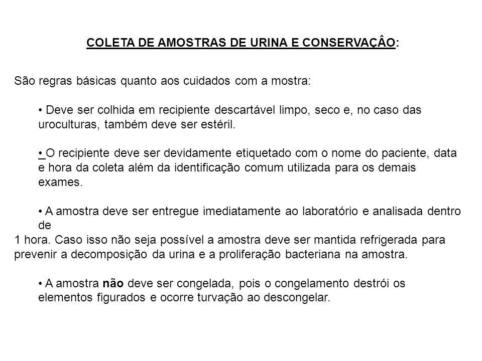 COLETA DE AMOSTRAS DE URINA E CONSERVAÇÂO: