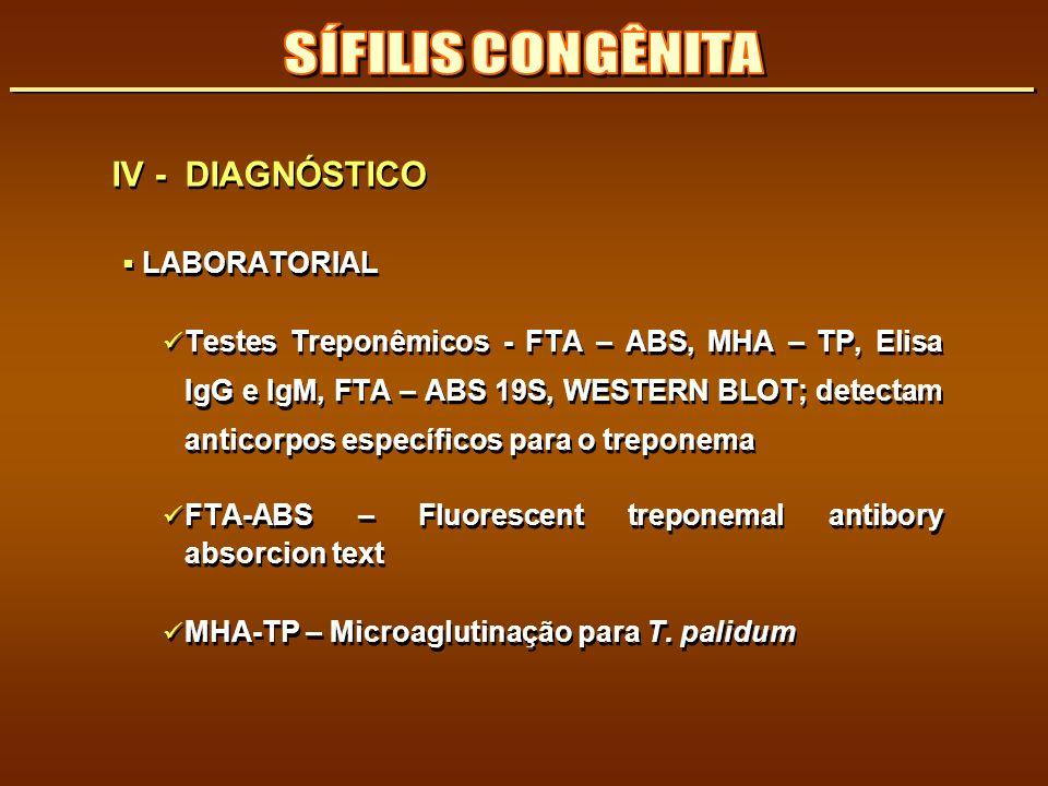 SÍFILIS CONGÊNITA IV - DIAGNÓSTICO LABORATORIAL