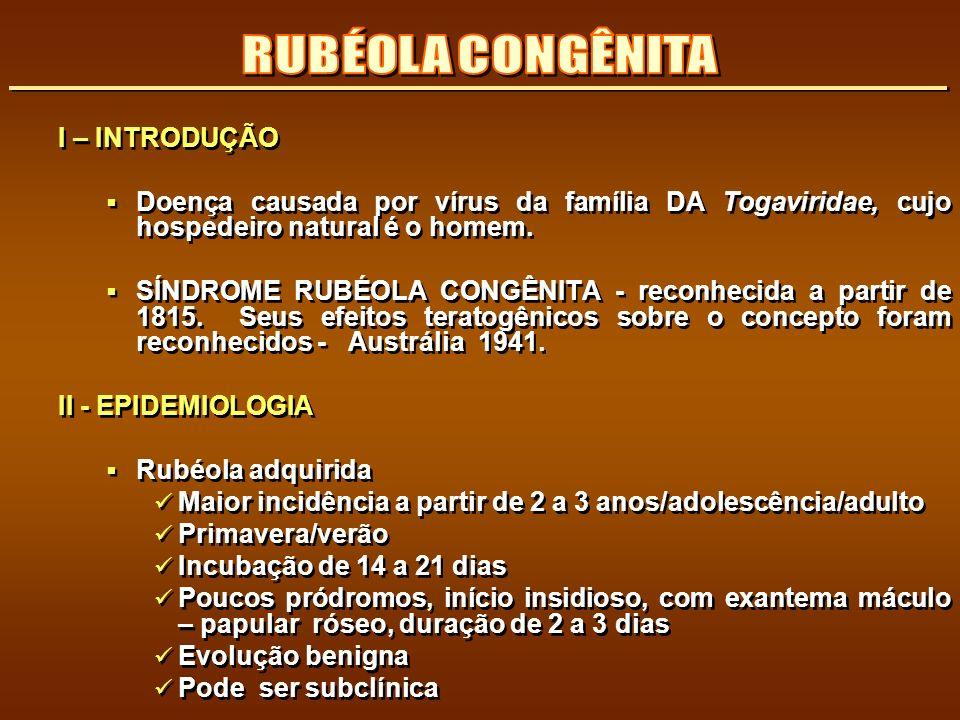 RUBÉOLA CONGÊNITA I – INTRODUÇÃO