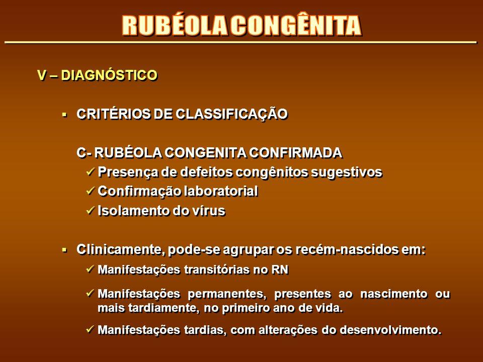 RUBÉOLA CONGÊNITA V – DIAGNÓSTICO CRITÉRIOS DE CLASSIFICAÇÃO