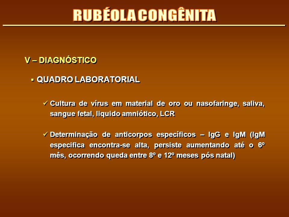 RUBÉOLA CONGÊNITA V – DIAGNÓSTICO QUADRO LABORATORIAL