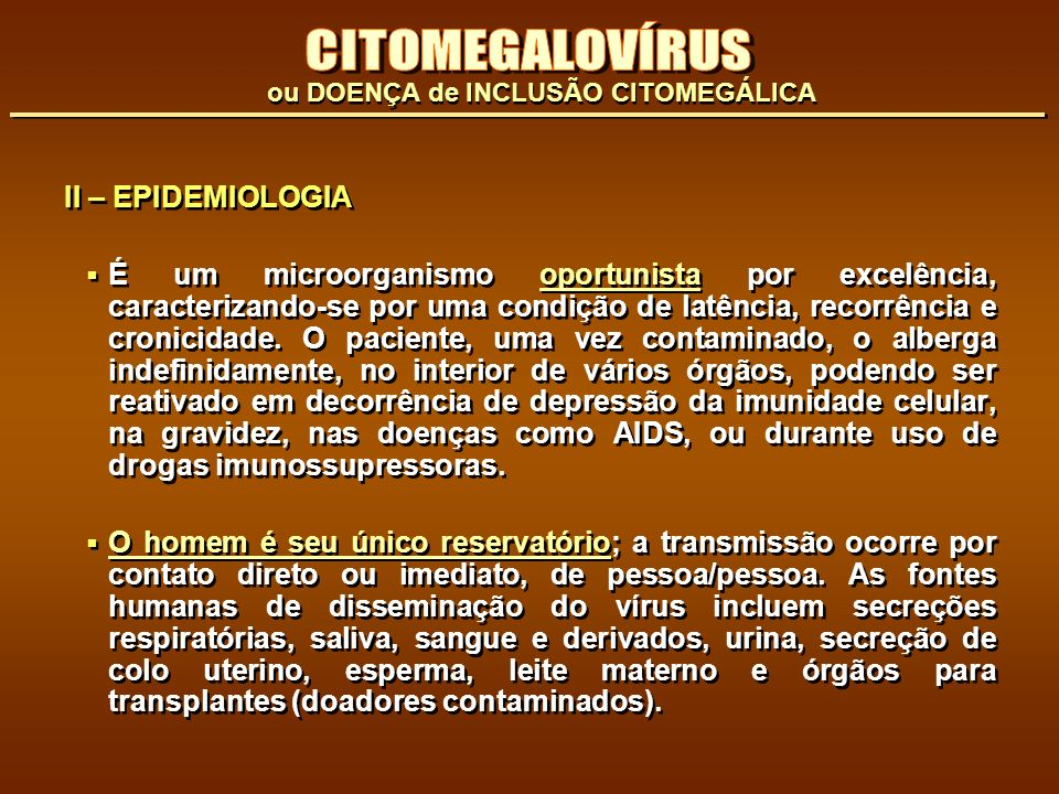 CITOMEGALOVÍRUS II – EPIDEMIOLOGIA