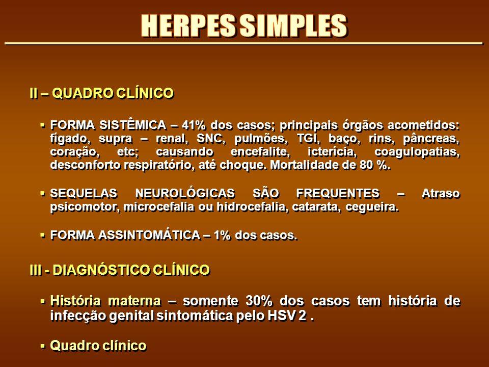 HERPES SIMPLES II – QUADRO CLÍNICO III - DIAGNÓSTICO CLÍNICO