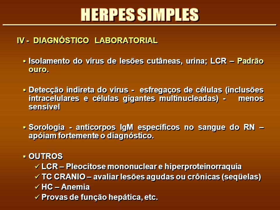 HERPES SIMPLES IV - DIAGNÓSTICO LABORATORIAL